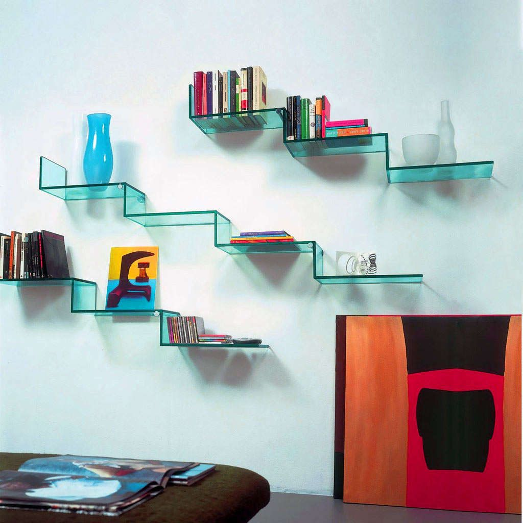 fancy stairs acrylic floating shelves on blue wall idea