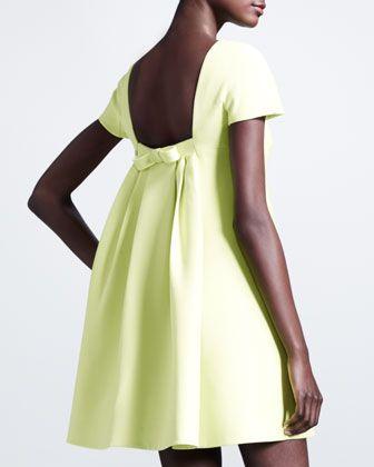 Valentino Pleated-Back Crepe Dress, Citron - Neiman Marcus