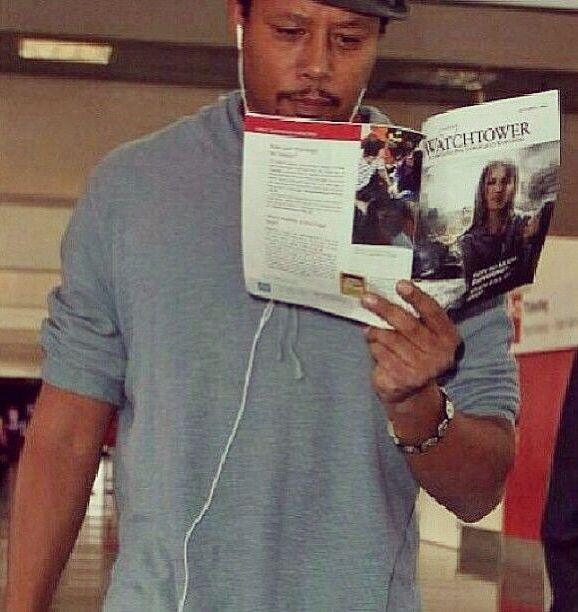 Actor Terrence Howard reading the WatchTower magazine! I seen him in an interview and he said one day he too will be a witness !  His entire family are witnesses'.