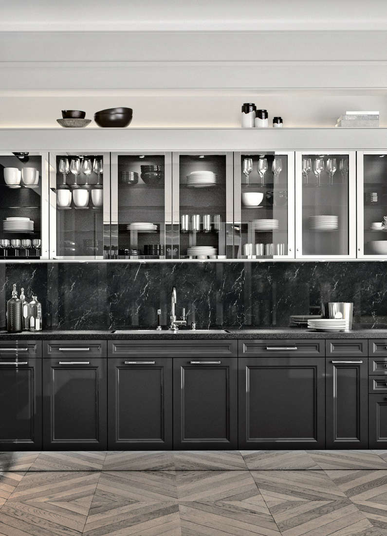 Küche, Marmor, Marmorküche, dunkel, schwarz, schwarze Küche, dunkle ...