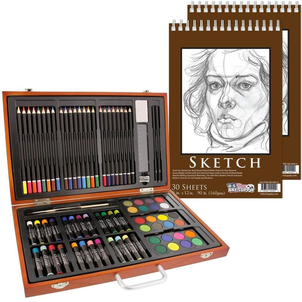 82 pcs set deluxe drawing kids art supplies lot colored pencils