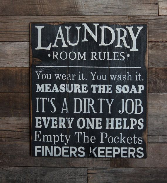 Large Wood Sign Laundry Room Rules Subway By Dustinshelves 3500