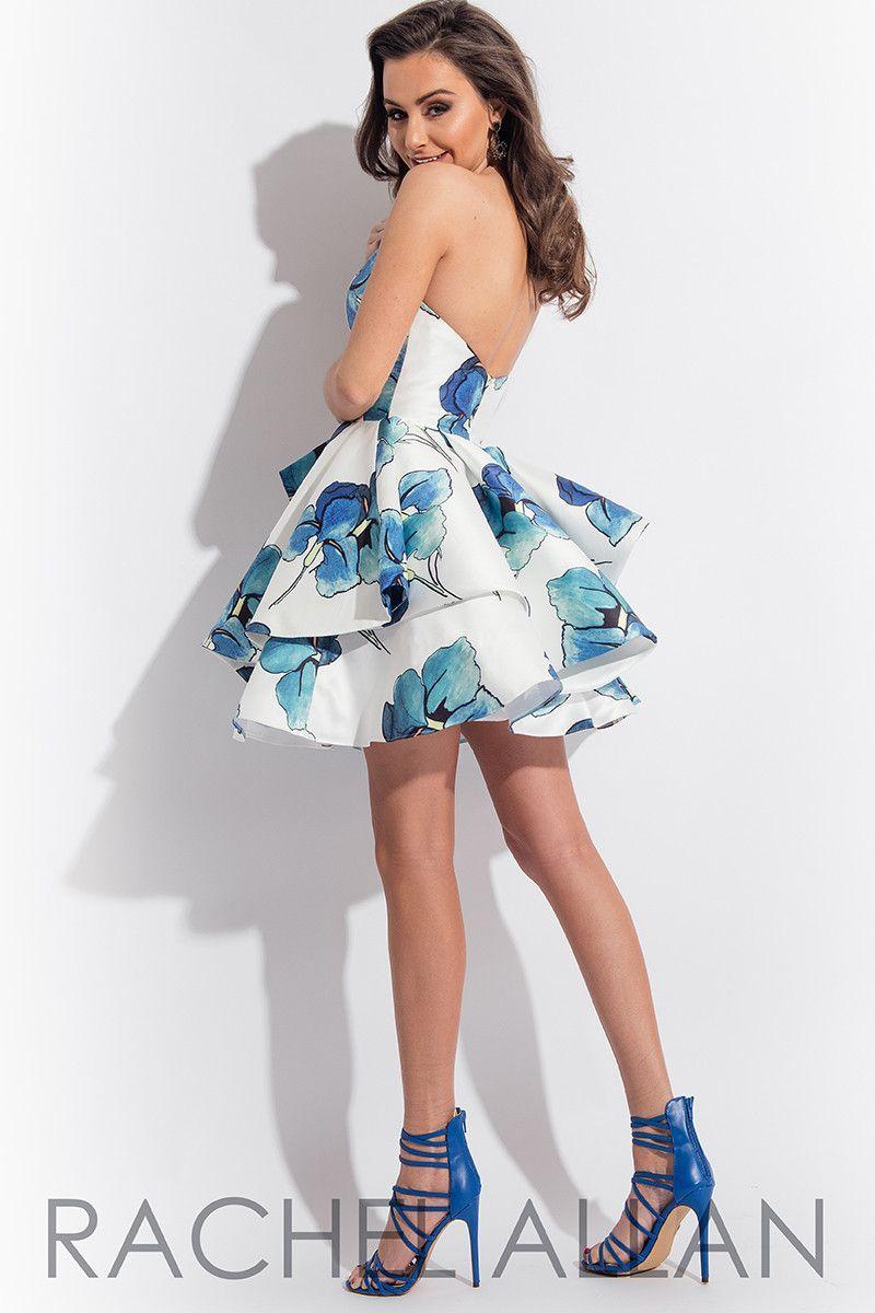 Rachel Allen 4113 Short white/blue floral prom dress, cocktail dress ...