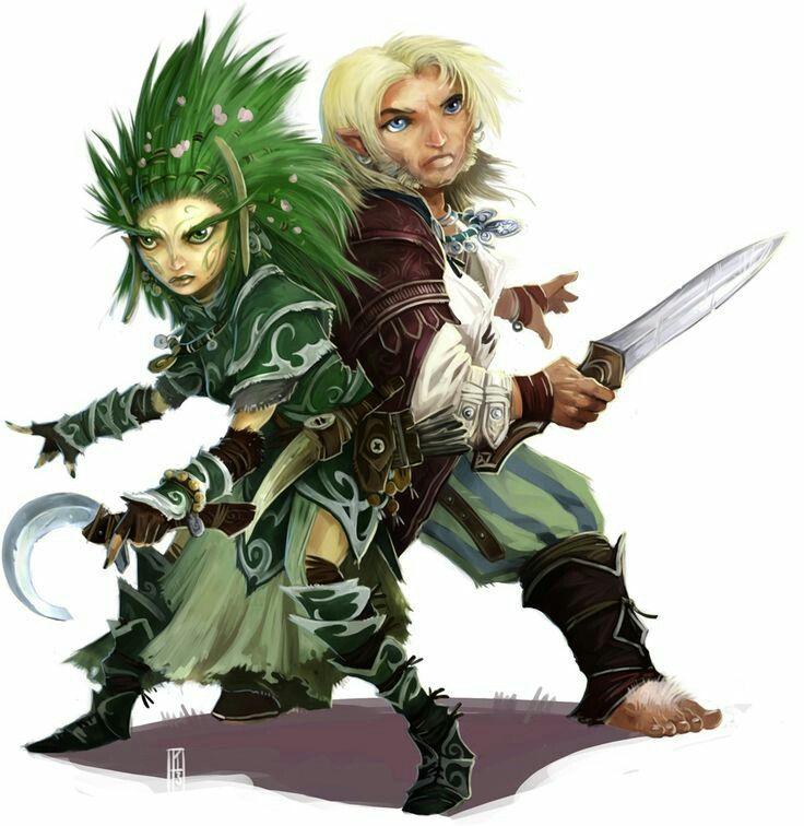 gnome druid and halfling bard back to back pathfinder