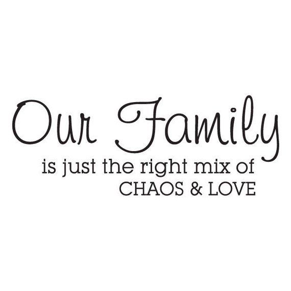 Family Wall Decal, Our Family is Just the Right Mix of Chaos and Love, Wall Quotes Vinyl Wall Decal,