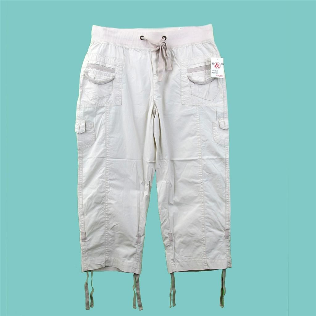 Details about Off White Capri Pants Cotton Cargo Elastic ...