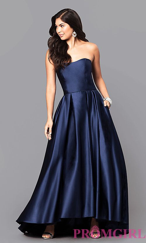 1b7e5635b50 Strapless A-Line Long Prom Dress with High-Low Hem