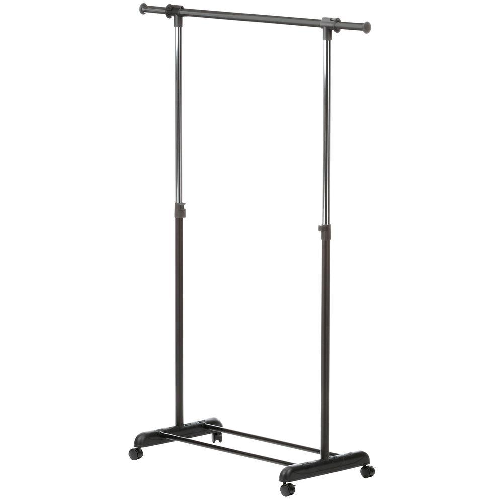 Honey Can Do 52 7 In X 65 75 In Expandable Steel Rolling Garment Rack In Chrome Black Black Grey Rolling Garment Rack Garment Racks Clothing Rack