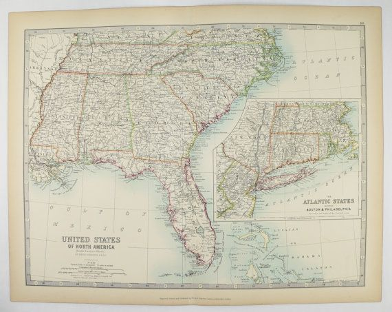 Antique Southern US Map United States Map 1905 Johnston Map, Florida ...