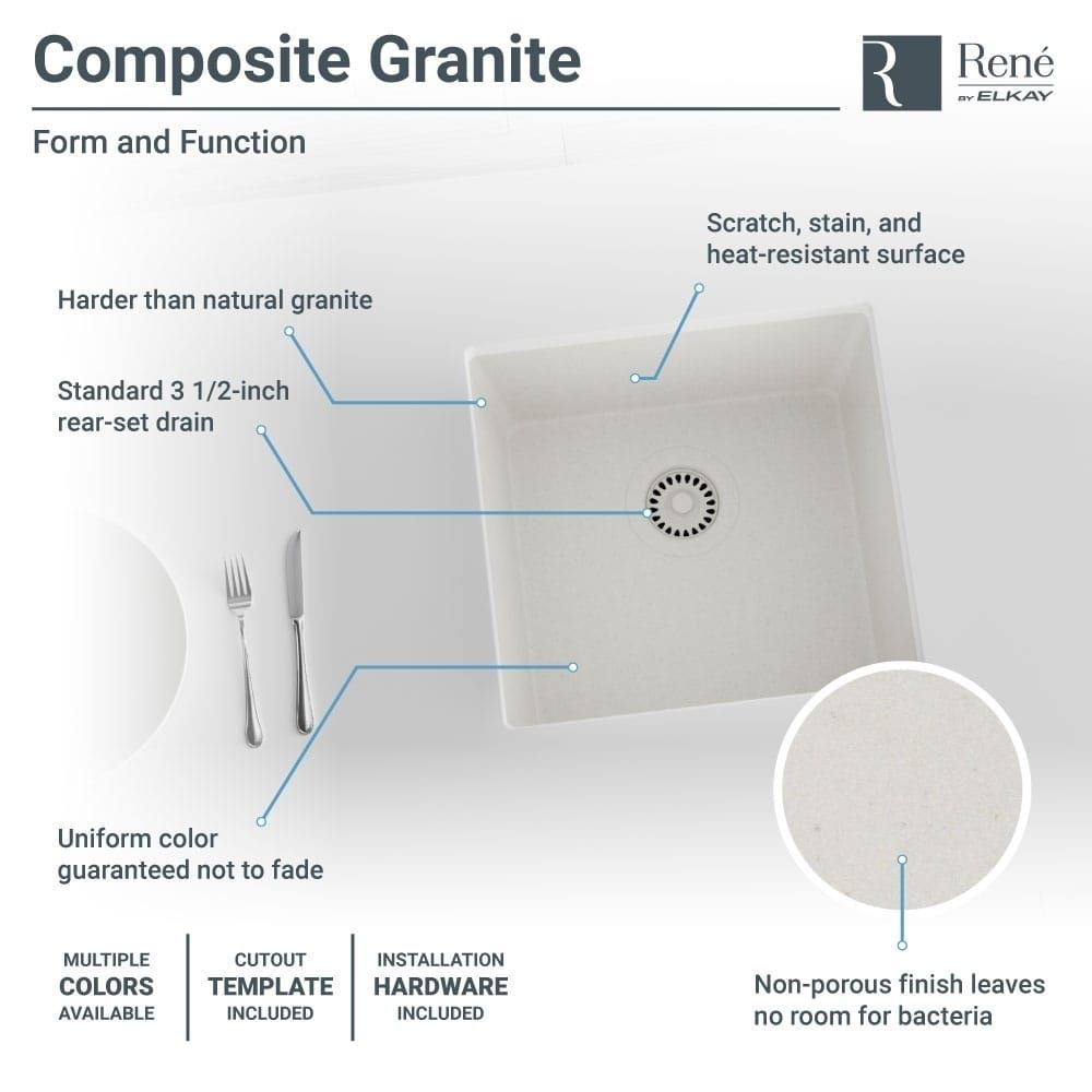 Ren By Elkay R3 1003 Single Bowl Composite Granite Kitchen Sink Wiring Diagram With Grid And Matching Colored Strainer