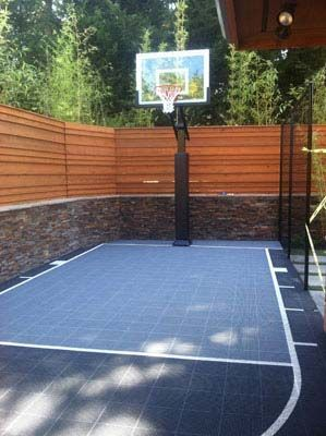 Backyard basketball court outdoor basketball court for Cost to build a backyard basketball court
