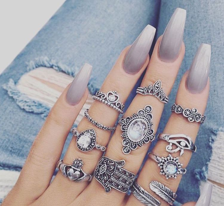 Long Grey Nails With Many Rings On Silver Ladystyle