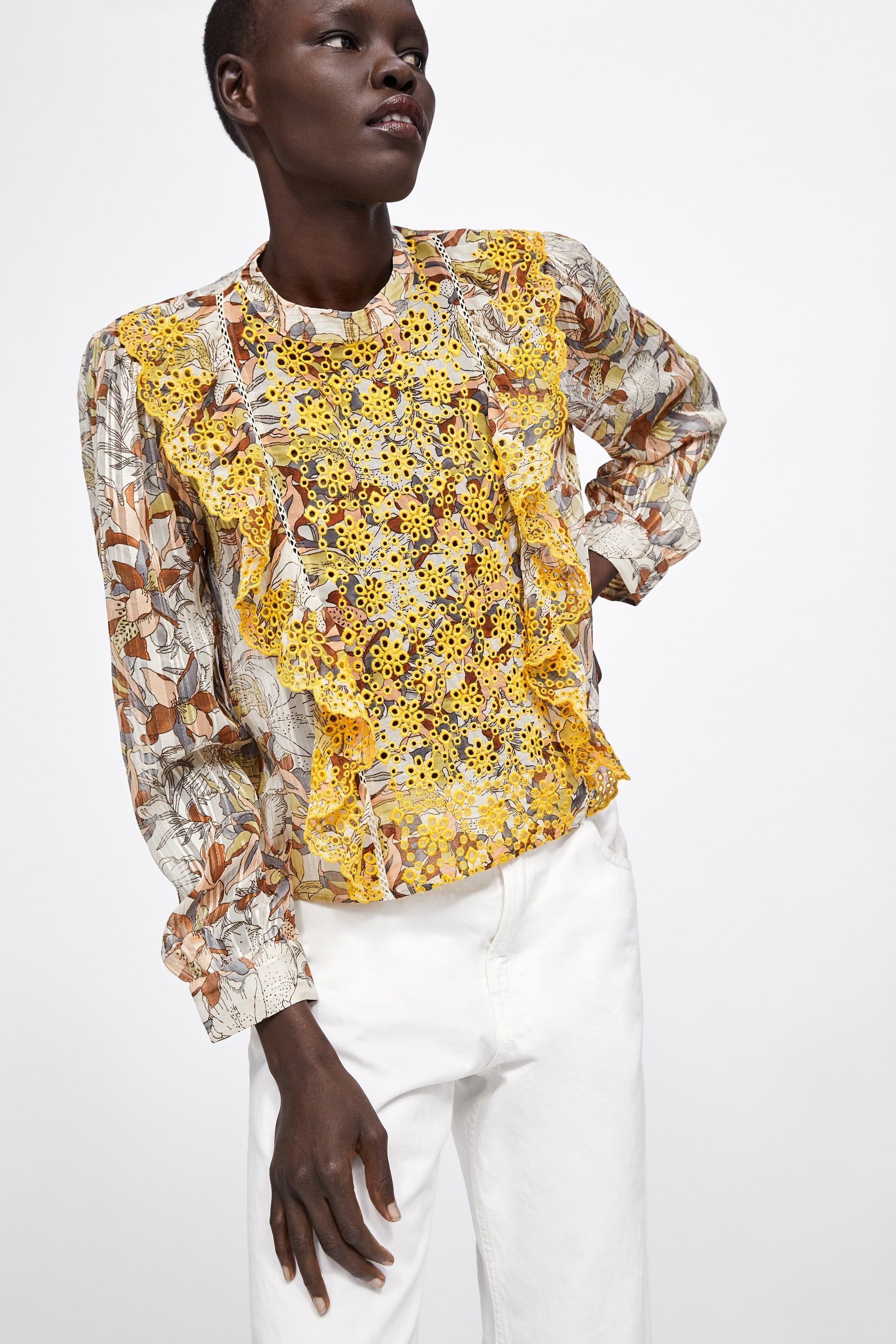 fe00e038093 Embroidered floral print blouse in 2019 | spring/summer fashion ...