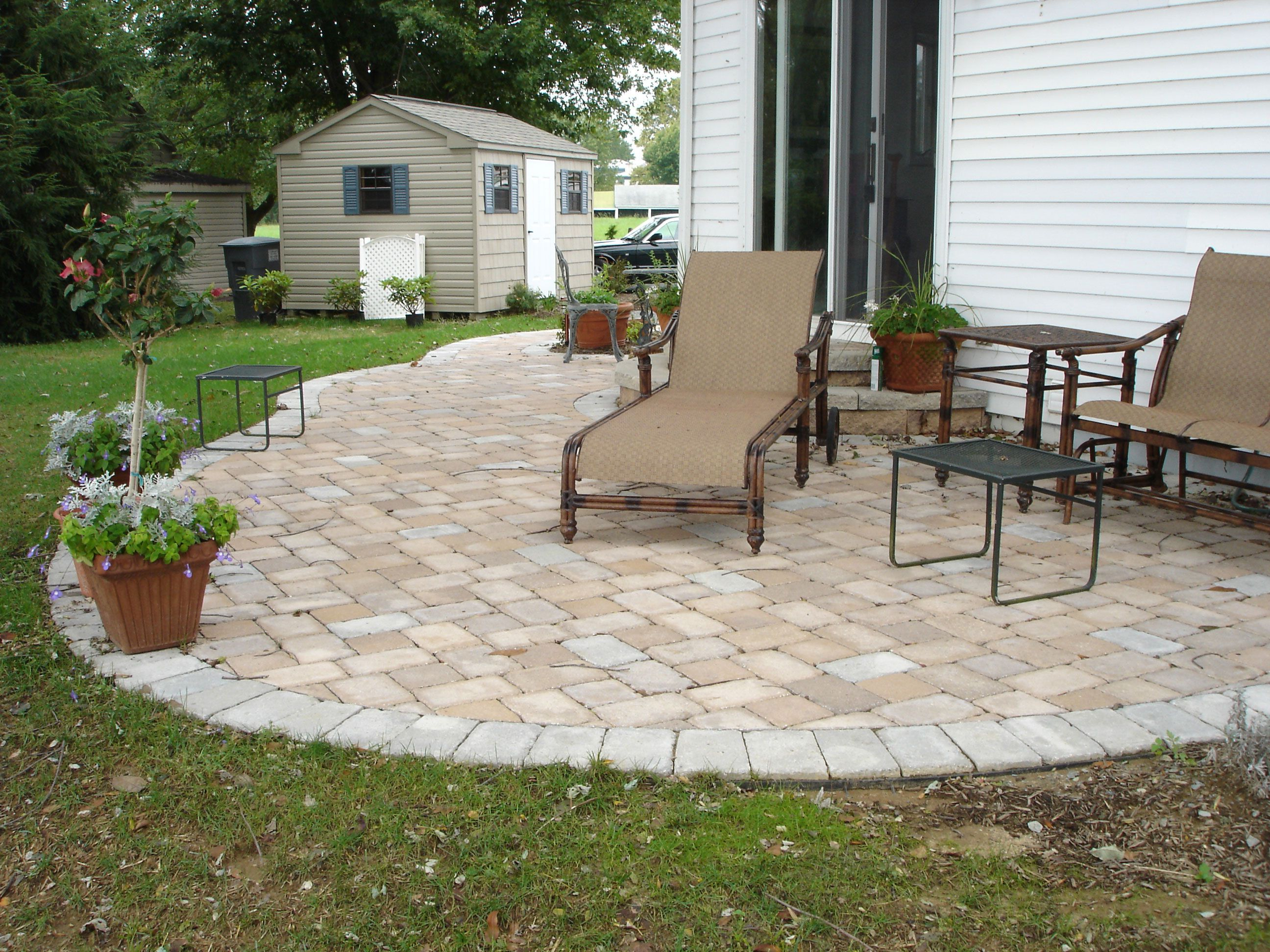 Concrete Paver Patio Designs Installation Cost Great Ideas