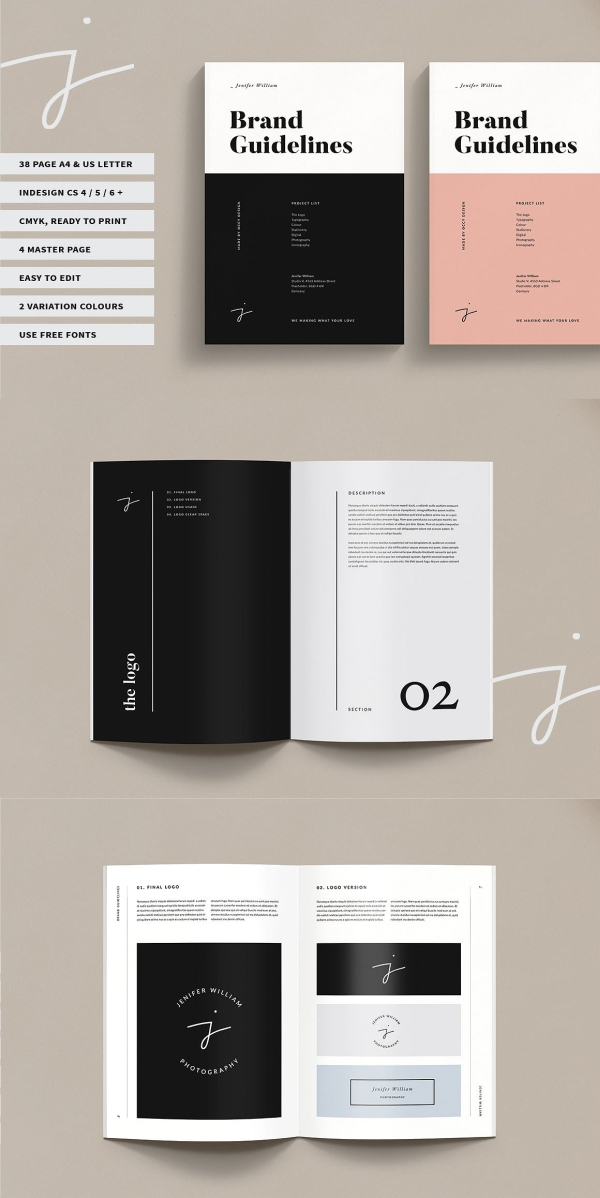 This is a clean and profesional brand guidelines template. #template #templates #brand #branding #print #guideline #clean #business #corporate