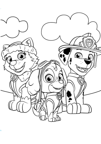 Everest Marshall And Skye Coloring Page Paw Patrol Coloring Pages Paw Patrol Coloring Coloring Pages