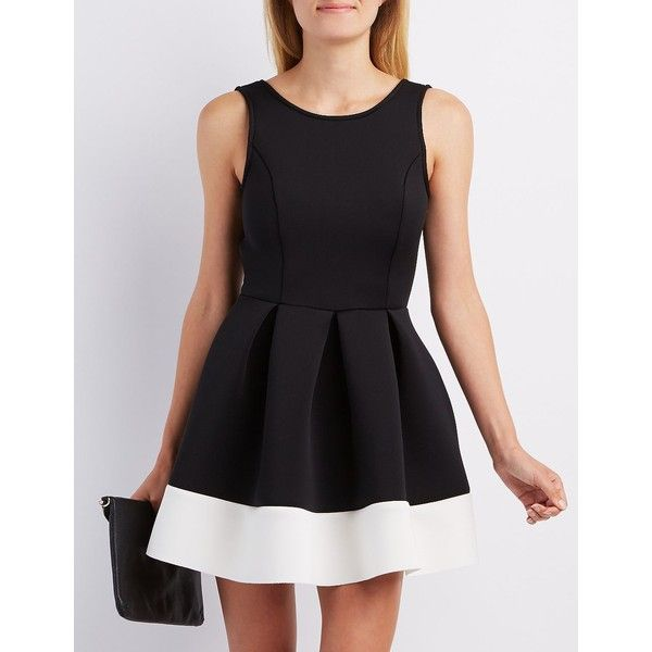 Charlotte Russe Backless Scuba Skater Dress (€27) ❤ liked on Polyvore featuring dresses, black combo, sexy skater dress, sexy open back dresses, flare dress, backless skater dress and knit skater dress