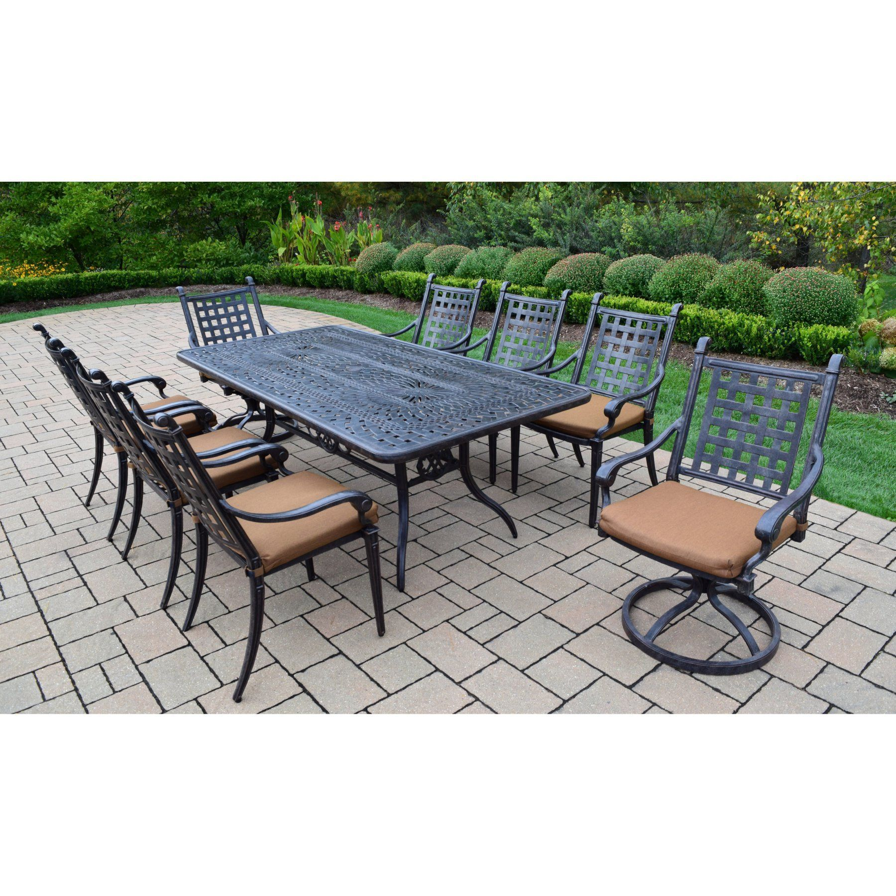 Outdoor Oakland Living Belmont 9 Piece Patio Dining Set With