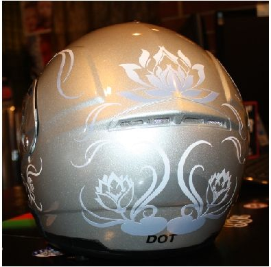 Custom water lily lotus motorcycle helmet vinyl decal graphics jpg