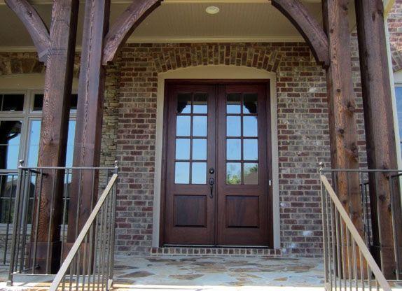 Front porch columns & love the dark cedar pillars   Cedar Columns   New House Ideas ... Pezcame.Com
