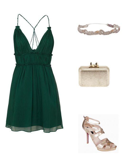Vestido verde que accesorios usar