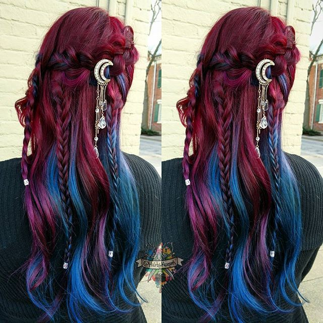 Purple To Blue Braided Ombre Hair Long Hair Styles Cool Hair Color