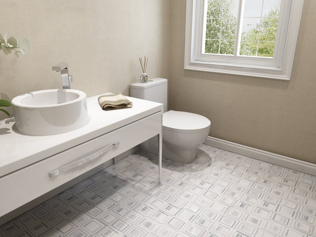 Contemporary Square White Thassos Euro Grey Marble Geometric - Thassos white marble bathroom
