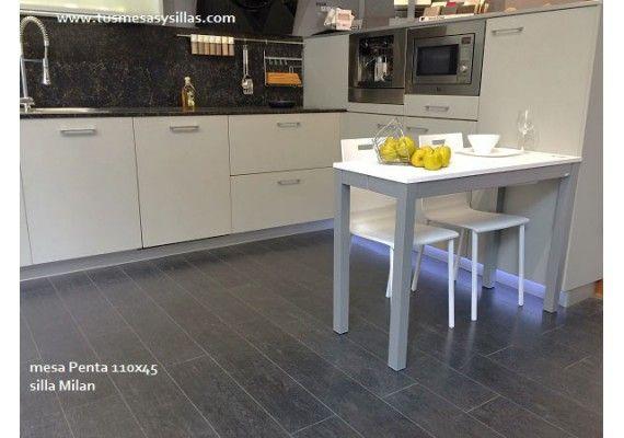 Mesa cocina extensible Penta encimera laminado y Fenix fondo ...