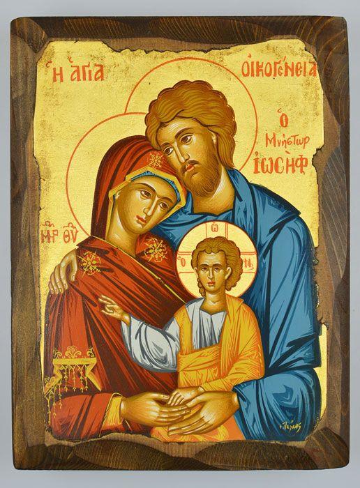 Icone Religieuse icône religieuse byzantine sainte famille sculptée 20 cm | boutique