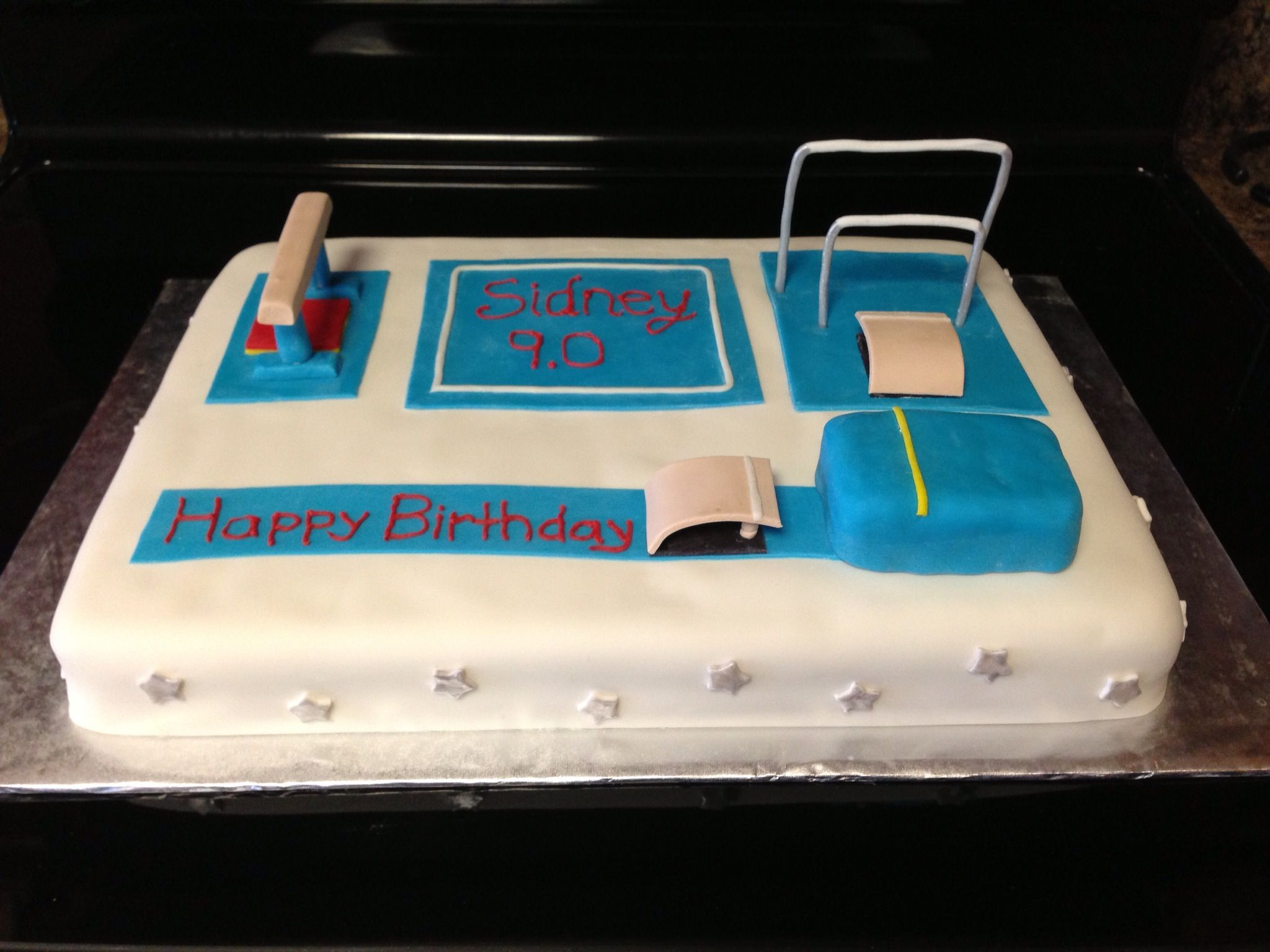 Cake Decorating Ideas Gymnastics : Gymnastics cake, covered in fondant with fondant ...