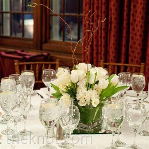 Rose Tulip Centrepiece In Small Square Vase Wedding Tulip