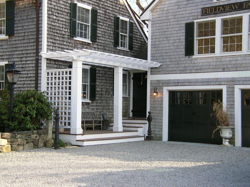 Traditional Gray House White Trim Pergolas Black