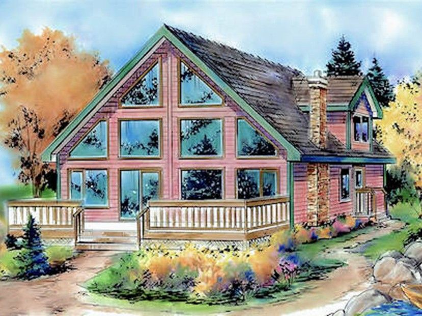 ePlans A-Frame House Plan – Far Away Views – 1654 Square Feet and 3 Bedrooms from ePlans –  House Plan Code HWEPL78068
