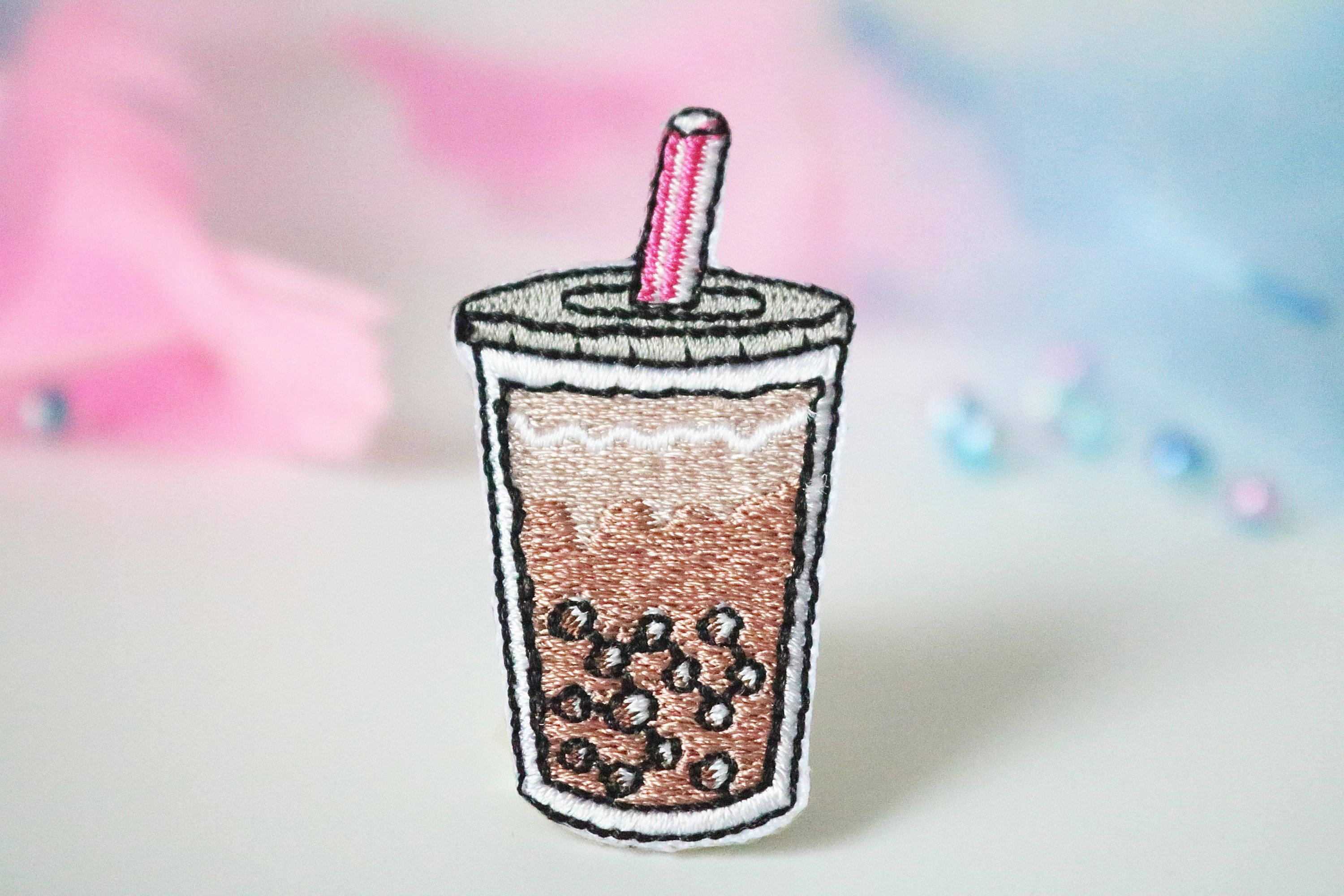 4 bubble tea iron on appliques bubble tea patches 4 cute summer drinks iron on matcha iron on sewing accessories
