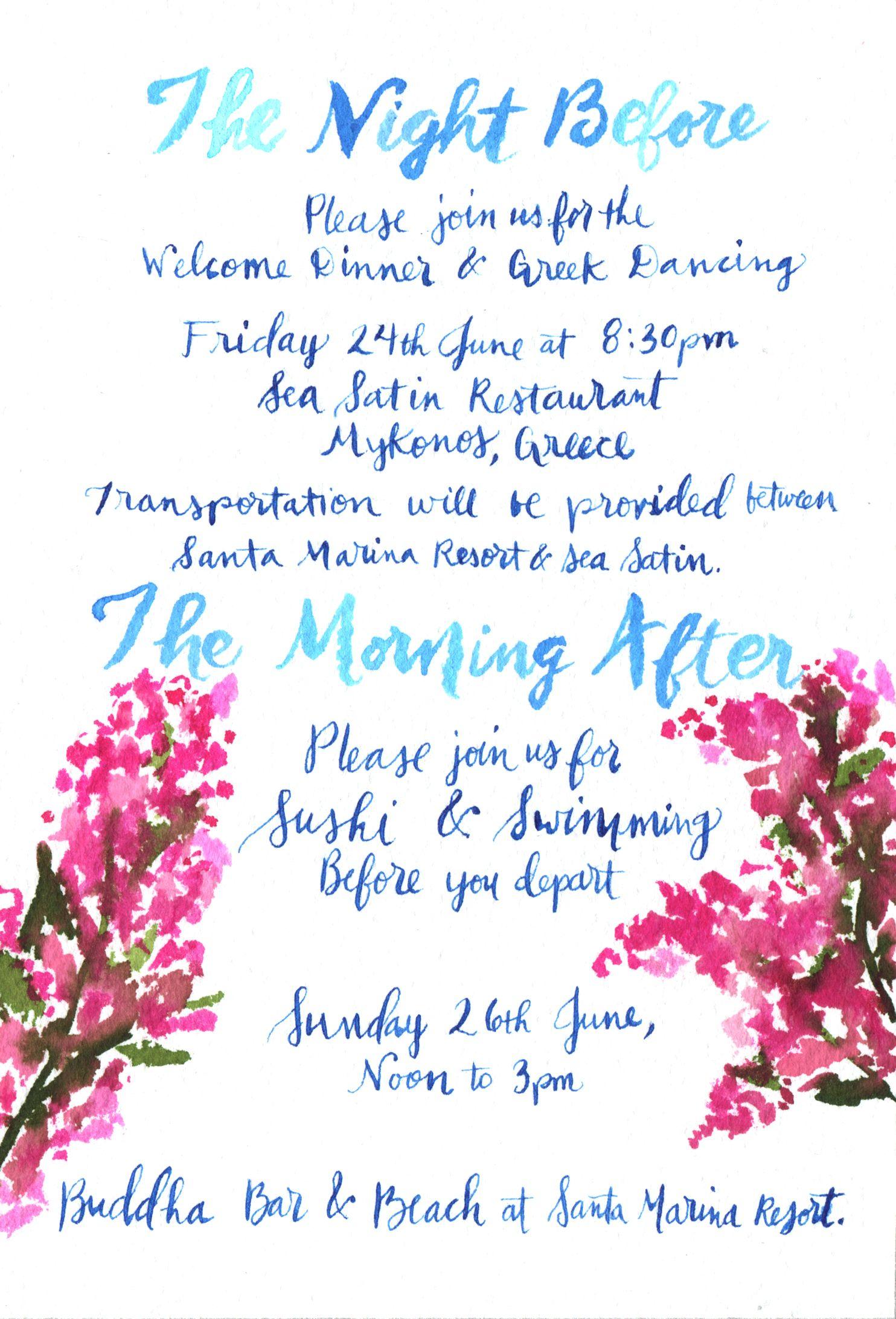 Mykonos Greek Wedding Accommodation Card Invitation Suite