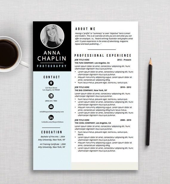 Creative Resume Template  Cv Template  Cover Letter  Microsoft