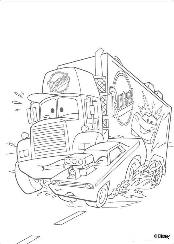 Cars Coloring Pages Mack Super Liner Truck Monster Truck Coloring Pages Truck Coloring Pages Disney Coloring Pages