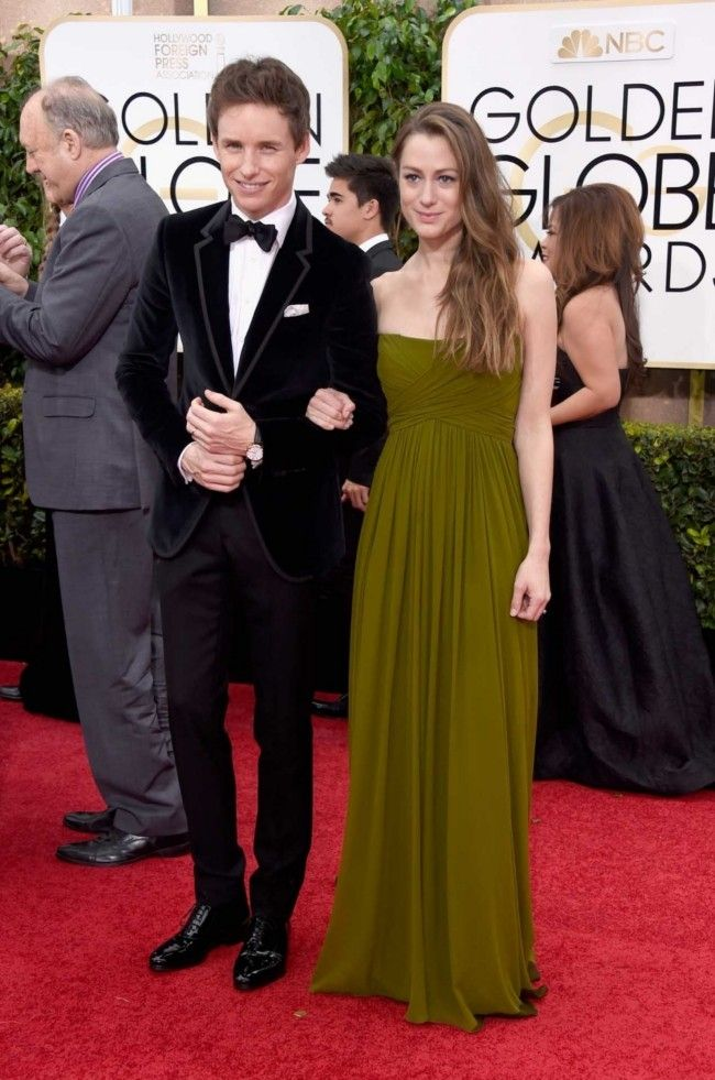 Golden Globes 2015: what they're wearing: Eddie Redmayne in Gucci and Hannah Bagshawe