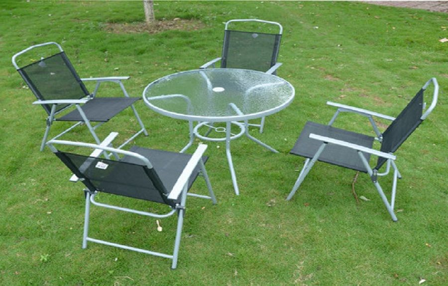 IKEA Outdoor Dining Set Glass Top Table With Folding Chairs Patio Garden  Furniture ~ Http: