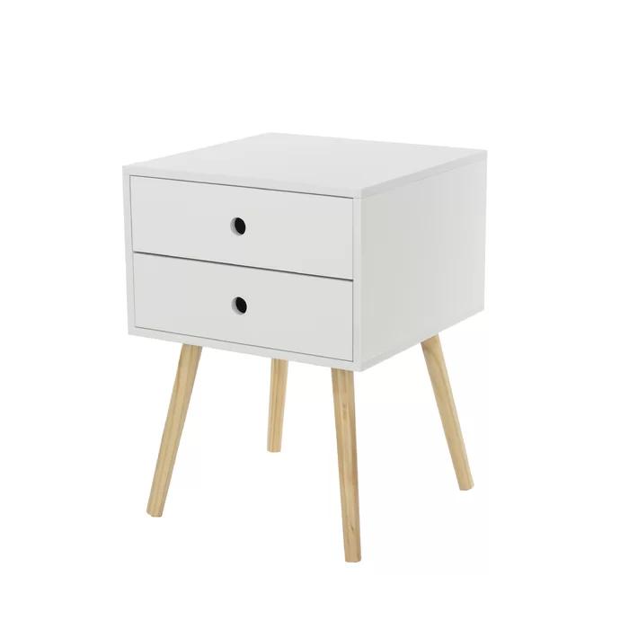 Omarion 2 Drawer Bedside Table Bedside Cabinet Bedside Table Wood Legs
