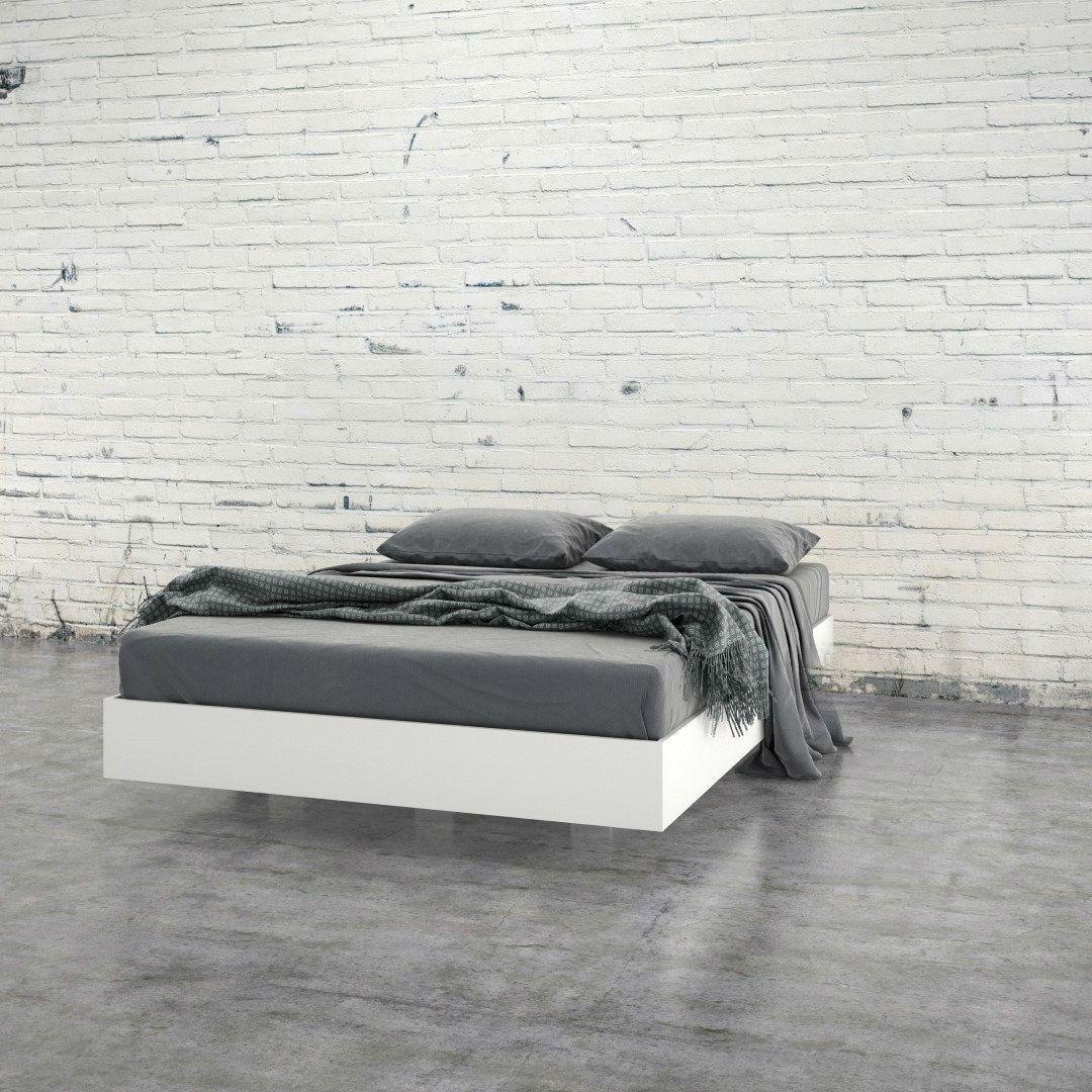 Modern Floating Style White Platform Bed Frame in Full Size | White ...