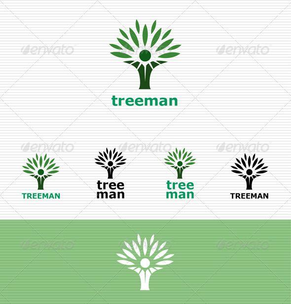 Treeman Logo Logo templates, Text fonts and Nature logos - editable leaf template