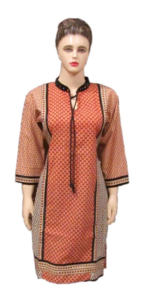 Stand Collar Designs For Kurti : Vegetable print designer kurti with stand collar in which