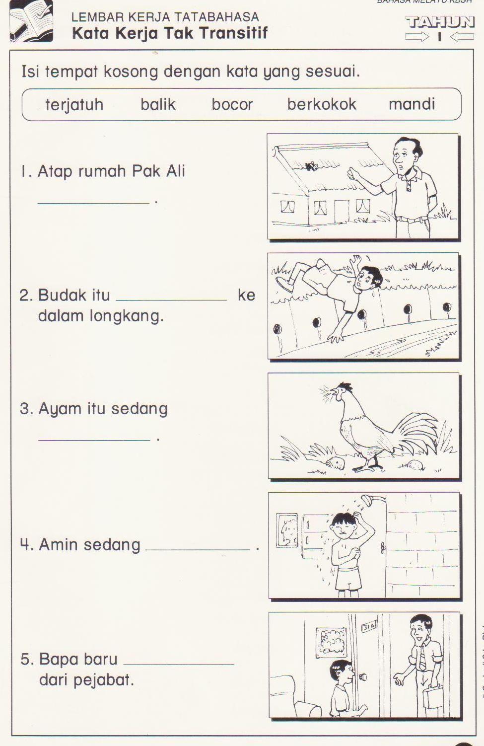 Latihan Kata Kerja Tak Transitif 1 Jpg 975 1502 School Kids Activities Preschool Learning Activities Elementry School