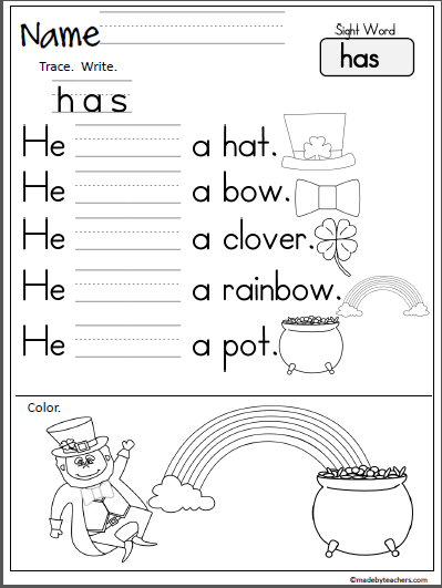 St. Patrick\'s Day Sight Word Practice (has