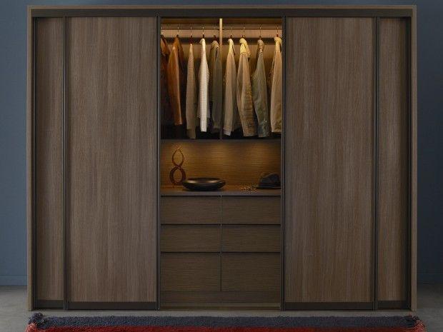 Walnut wardrobe color with inside lighting furniture for Inside wardrobe storage