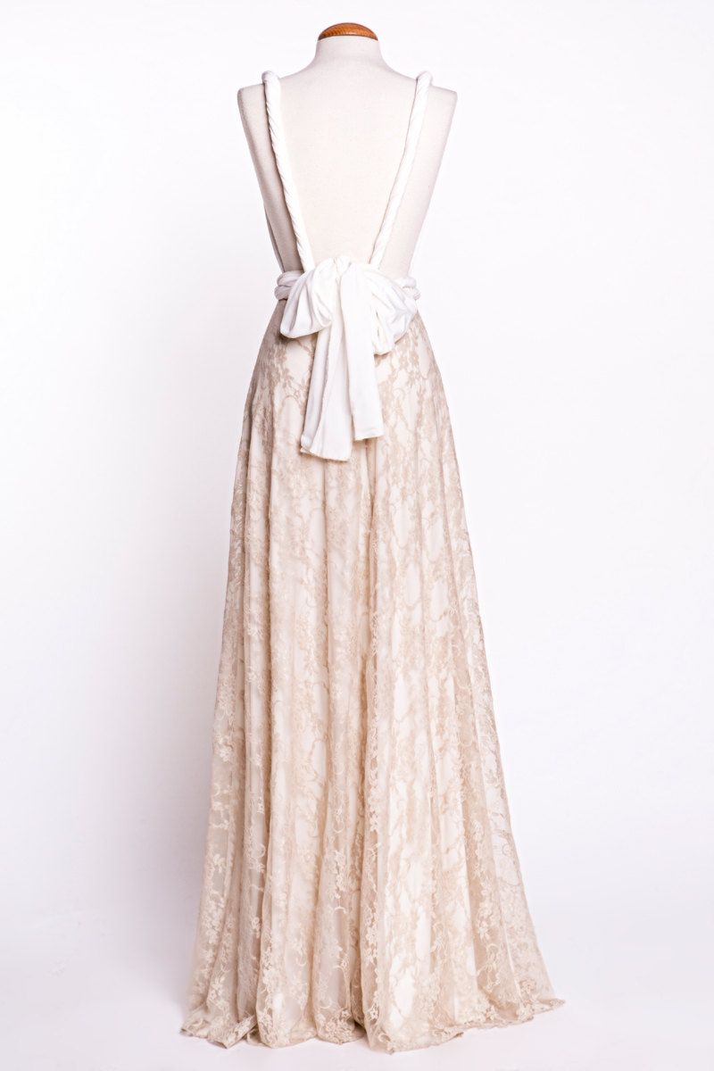 Backless wedding dress boho wedding dress golden lace bridal gown