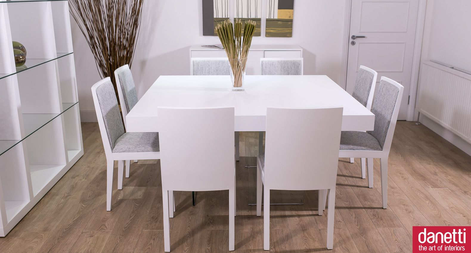 Large Square White Oak Dining Set For 8 Matching Chairs Grey