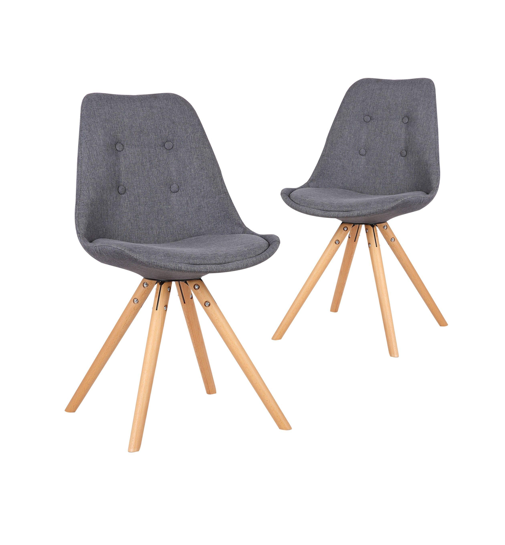 chaises fiska lot de 2 chaises design scandinave gris fonce bobochicparis com