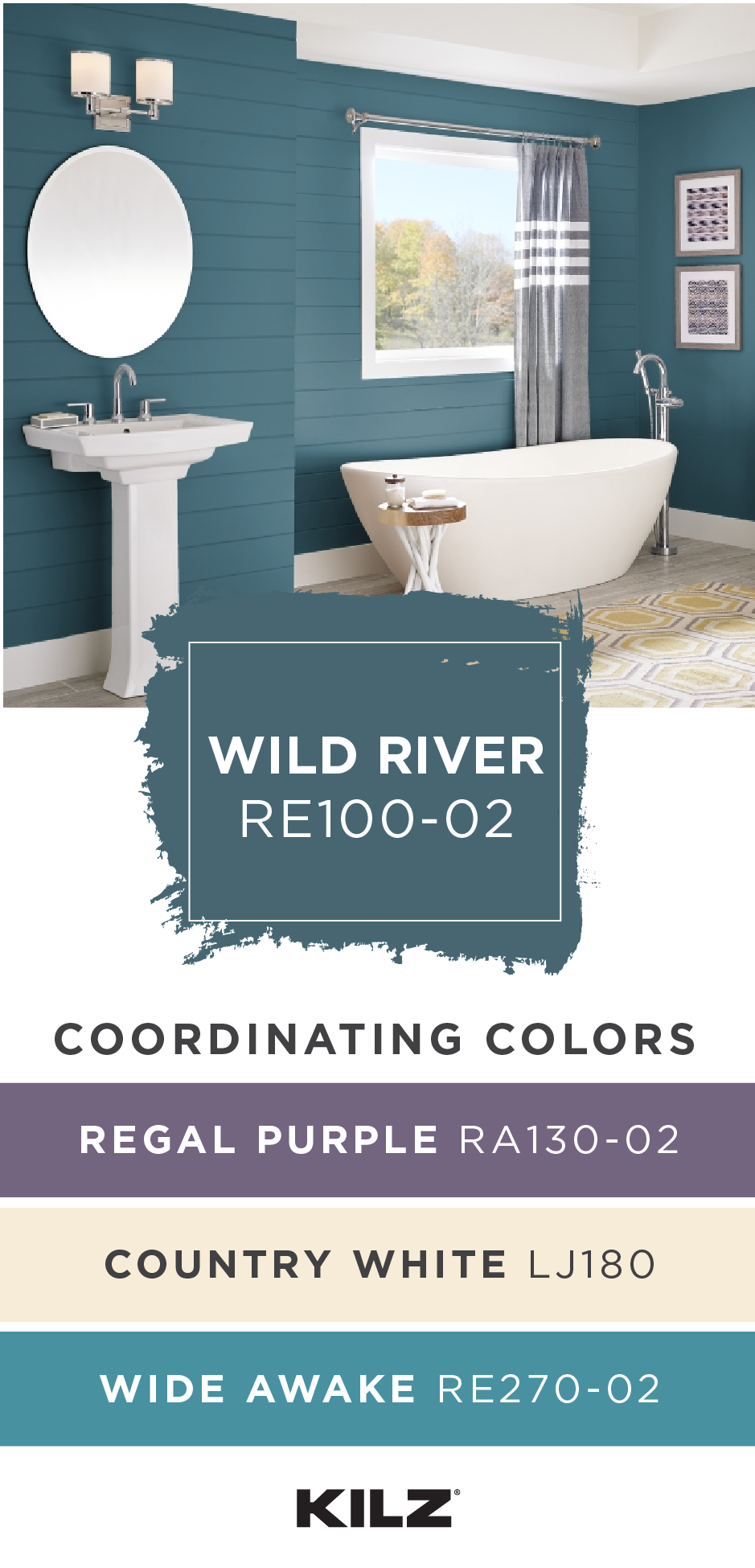 The Dark Blue Hue Of Wild River By Kilz Complete Coat Paint Primer In One Looks Beautiful In T Blue Green Bathrooms Bathroom Colors Blue Rustic Paint Colors